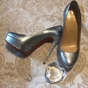 Authentic Louboutin Bianca Glitter Strass Silver